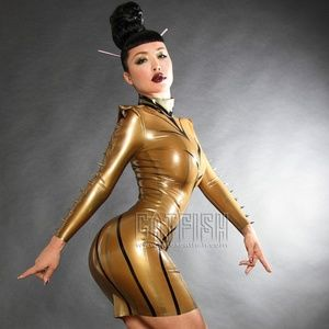 Gold and Black Latex Dress